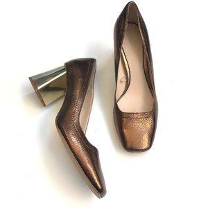 Zara Cracked Gold bronze Metallic Heel Pumps 39